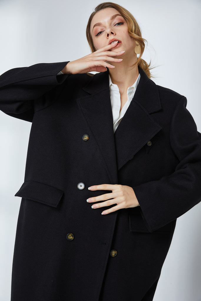 Double-Breast Wool-blended Coat with Shoulder Pads- Whizz