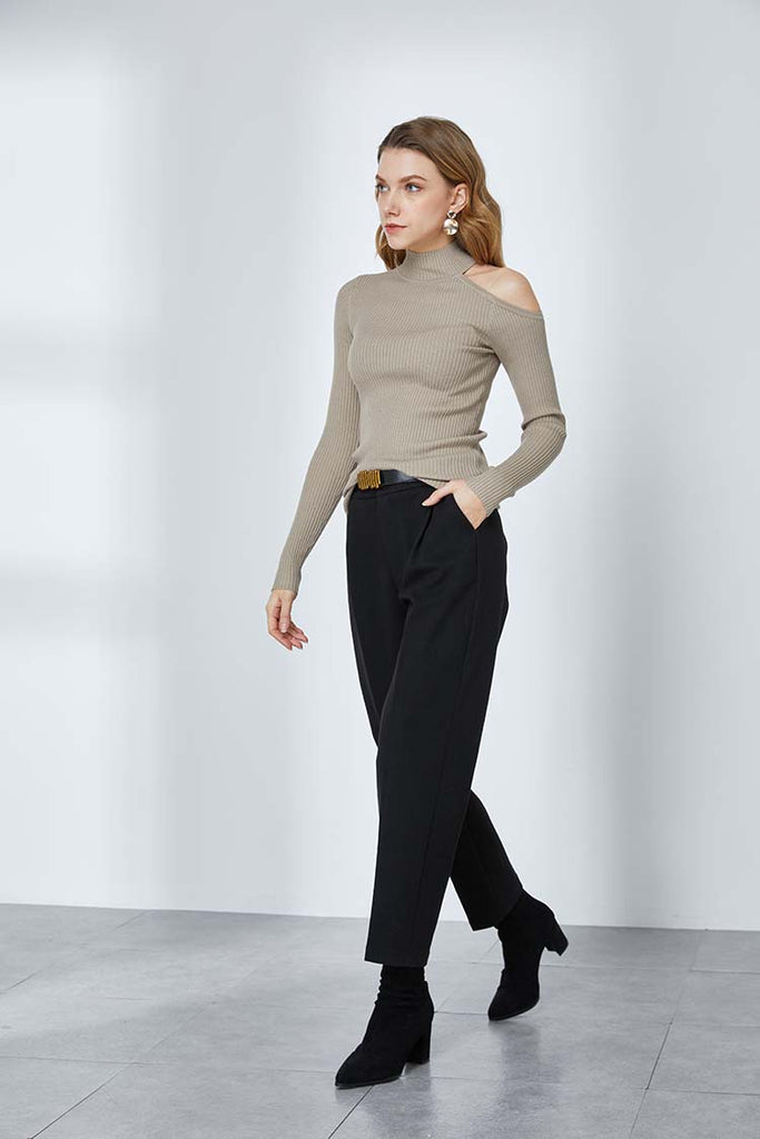 Wool Blend Tapered Pants-Whizz