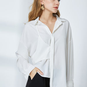 Asymmetric Drapey Blouse - White