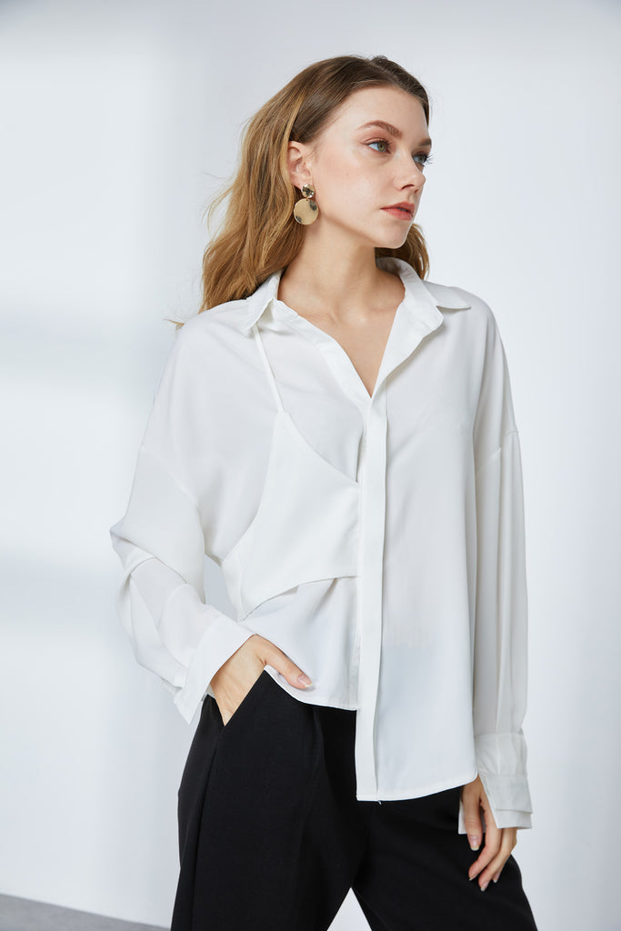 Asymmetric Drapey Blouse-Whizz