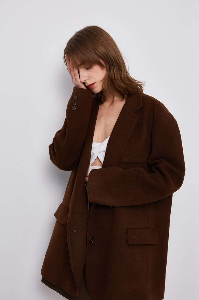 Oversized Handmade Wool-Blend Boxy Coat - Whizz