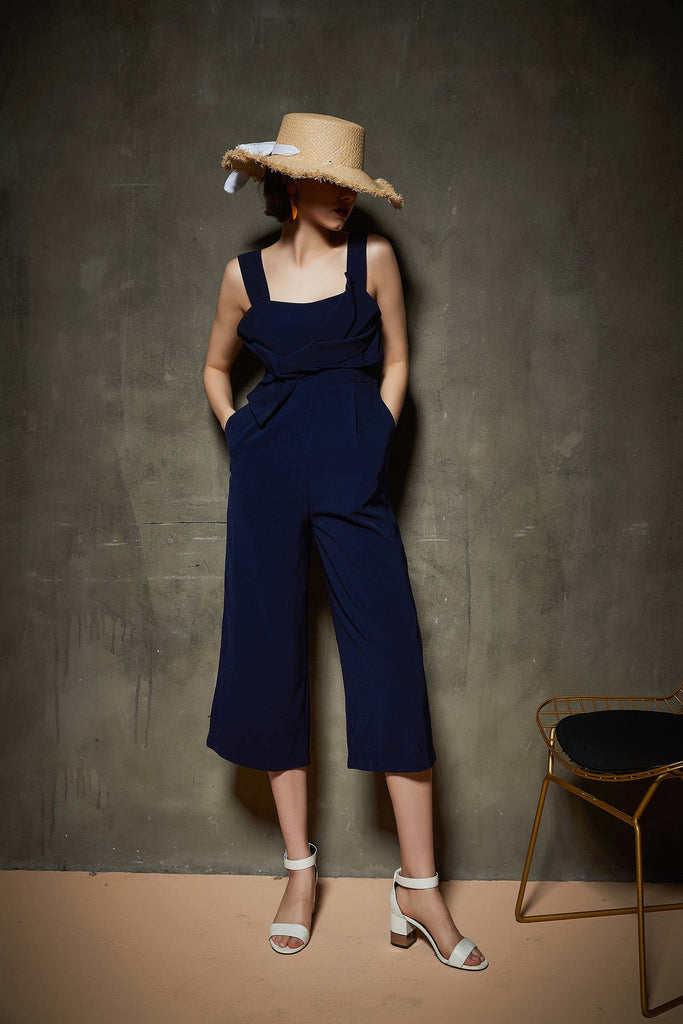 Whizz Navy Wide Leg Jumpsuit