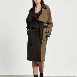 Camel Patchwork Trench Coat