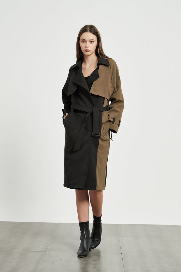 Camel Patchwork Trench Coat 1