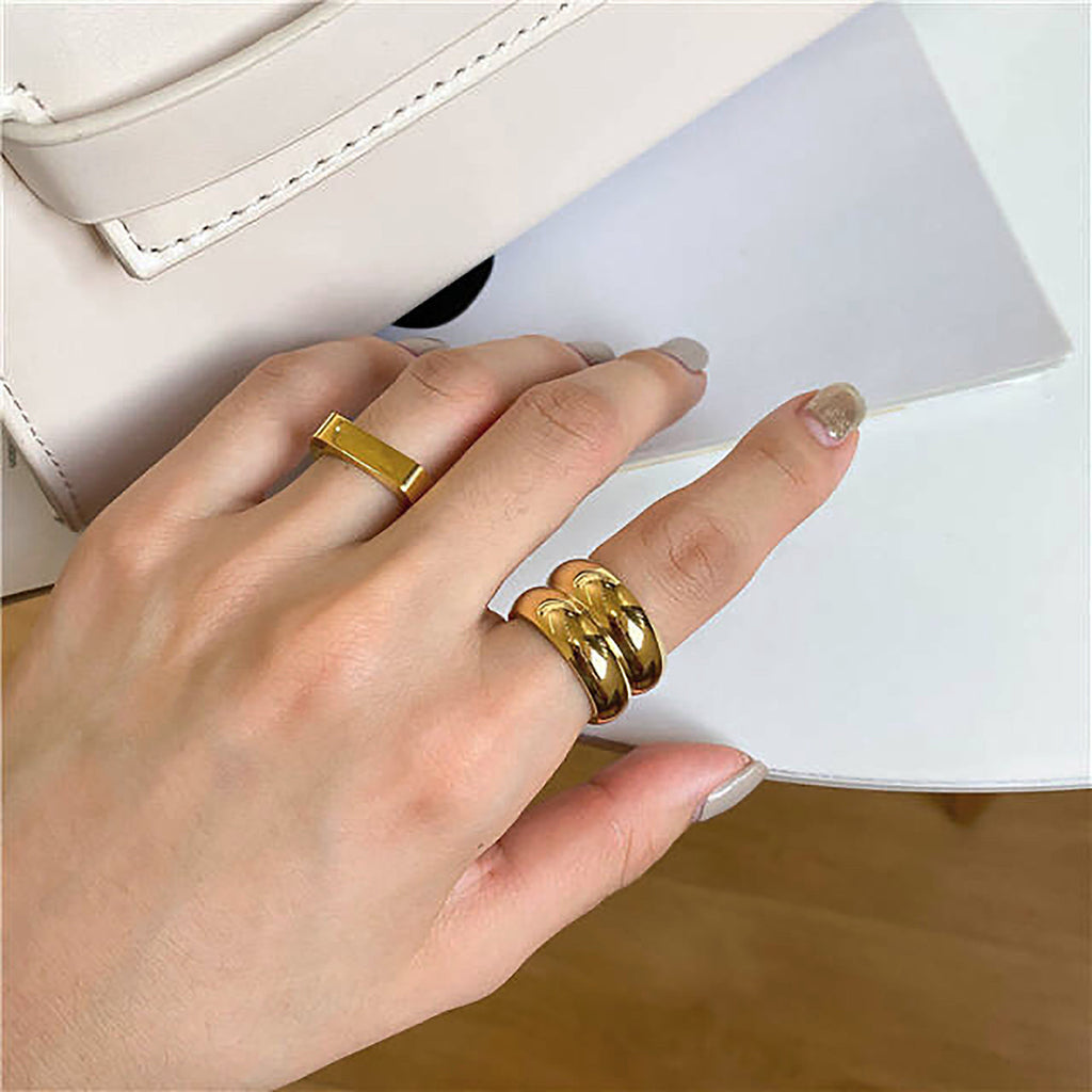 Whizz The Wide Double Band Ring