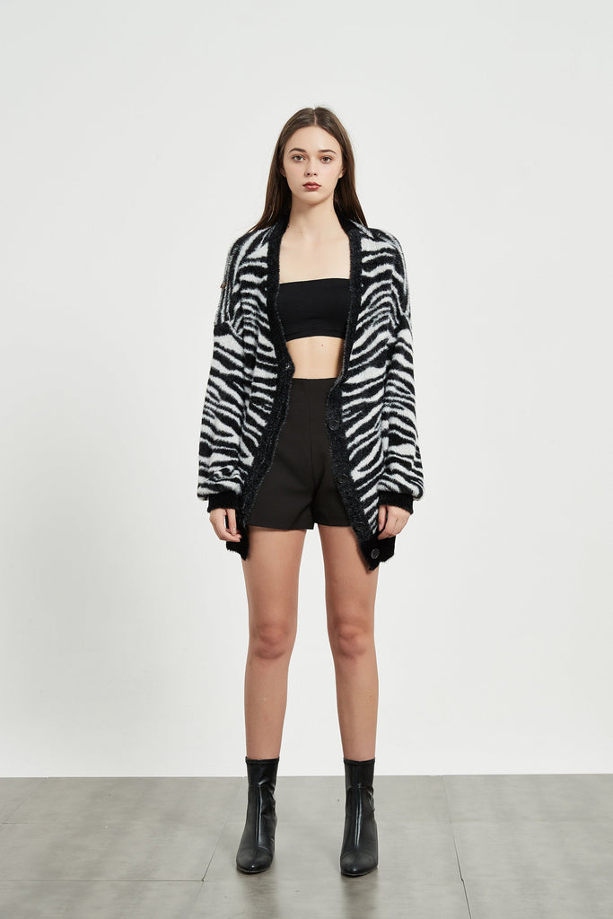 Whizz Zebra Pattern Fuzzy Cardigan