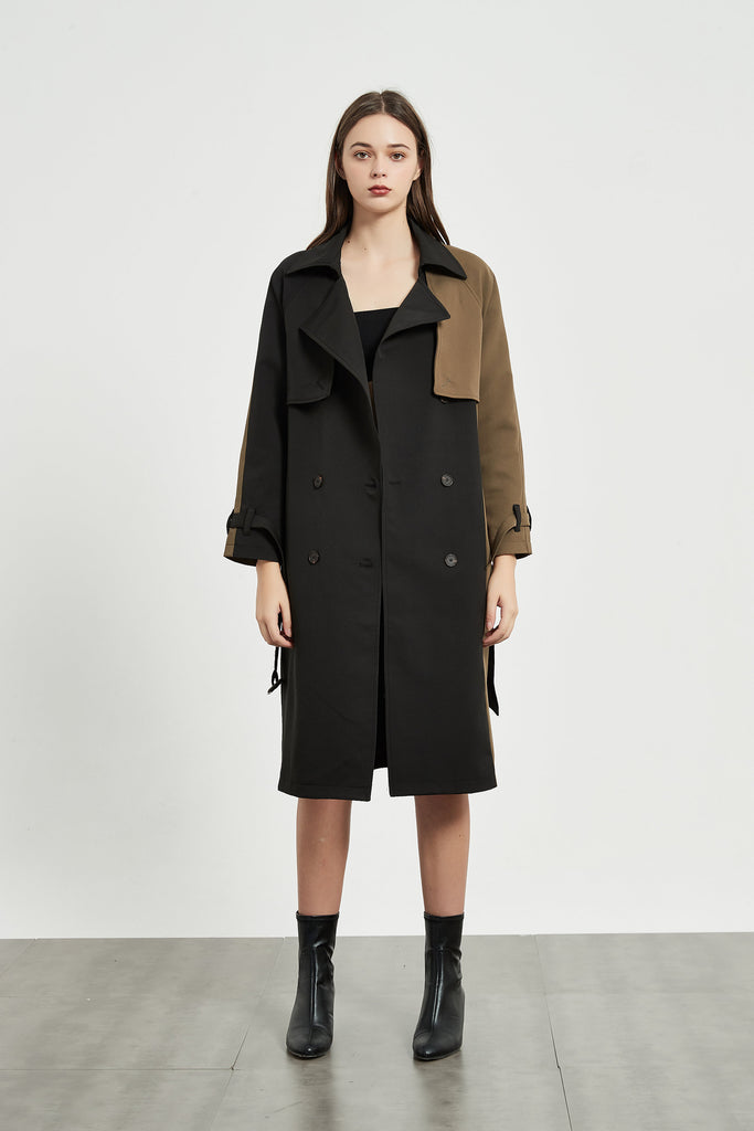 whizz camel patchwork trench coat
