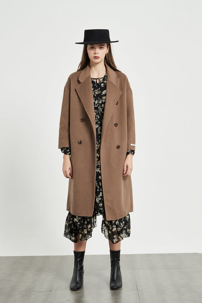Whizz Oversized Double Breast Wool Coat