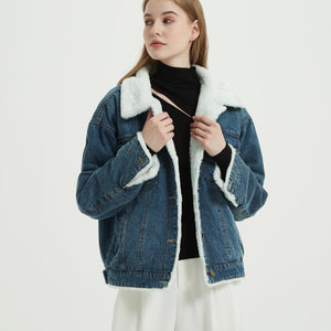 Boyfriend Vegan Fur Trucker Denim Jacket