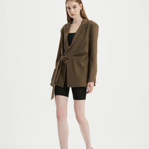 Choco Asymmetric Side Belt Blazer