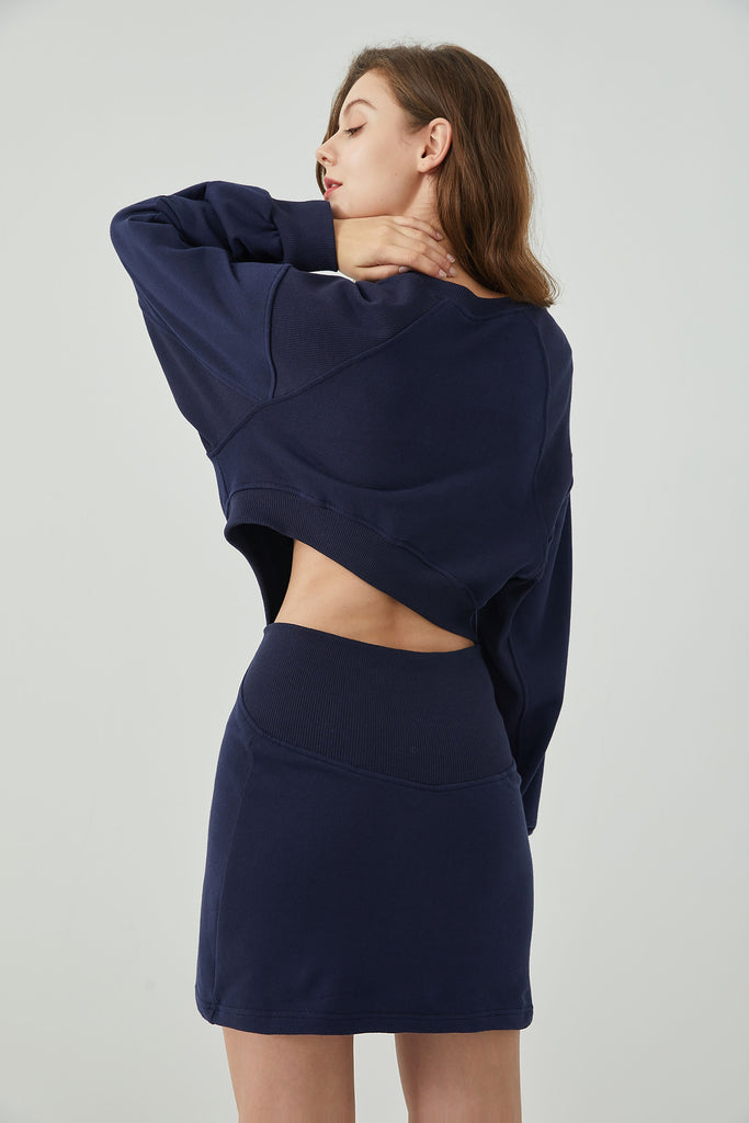Whizz textured cut-out sweatshirt dress