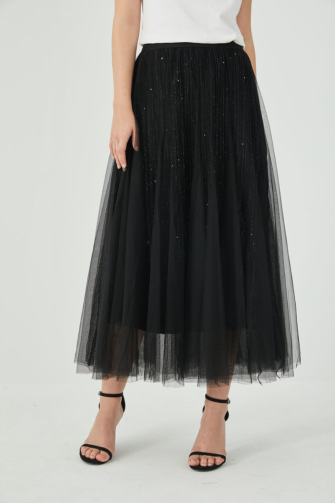 Whizz Sequined Tulle Midi Skirt