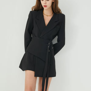 Asymmetric Double Belted Blazer Dress