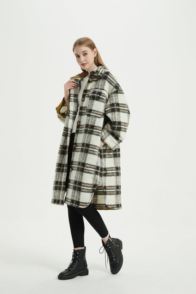 Whizz Trendy Oversized Plaid Wool Shacket