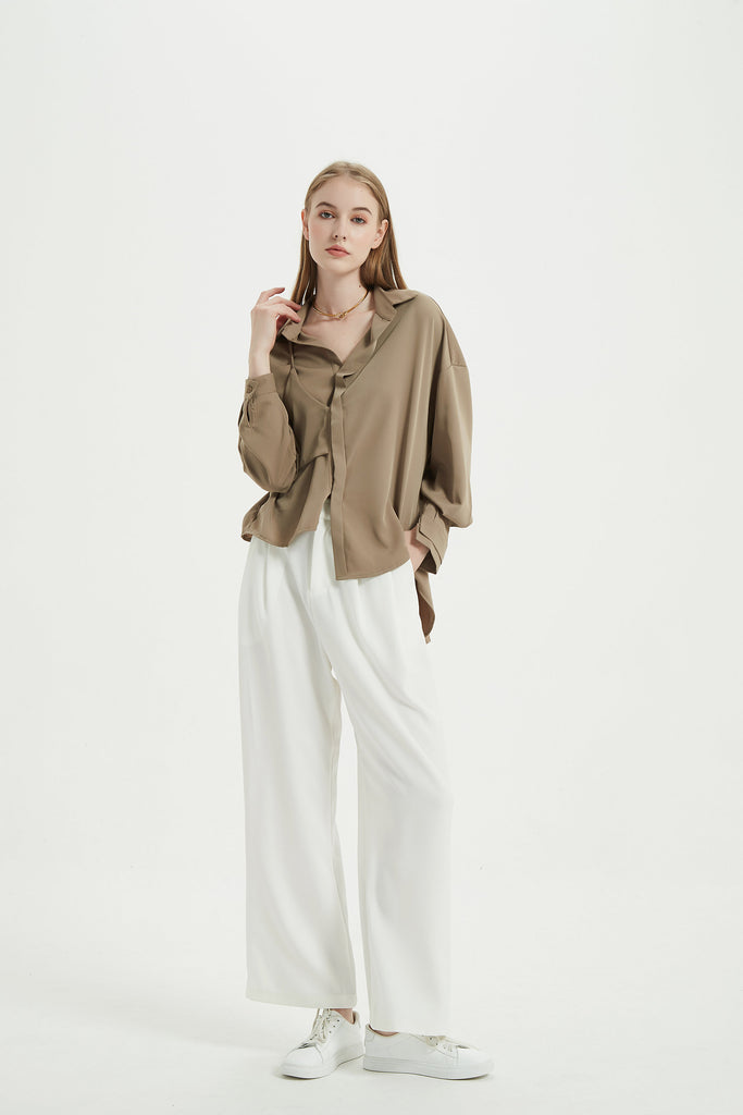 whizz asymmetric drapey blouse