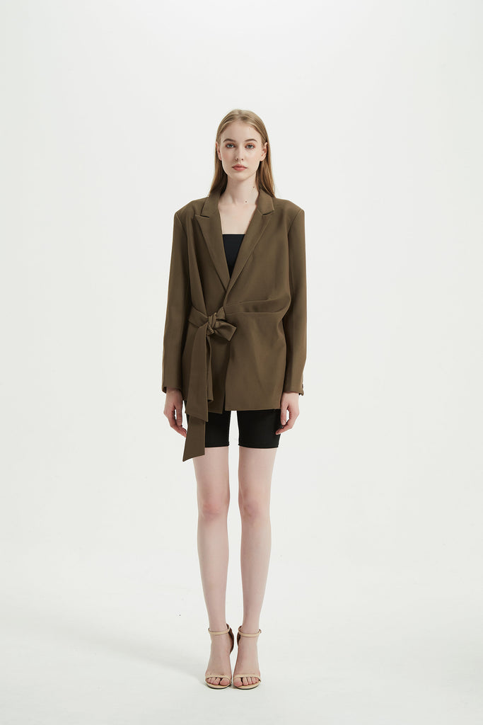 Whizz Choco Asymmetric Side Belt Blazer