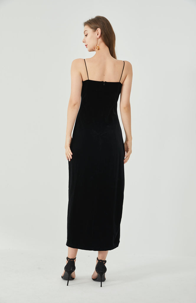Whizz timeless straps velvet maxi dress