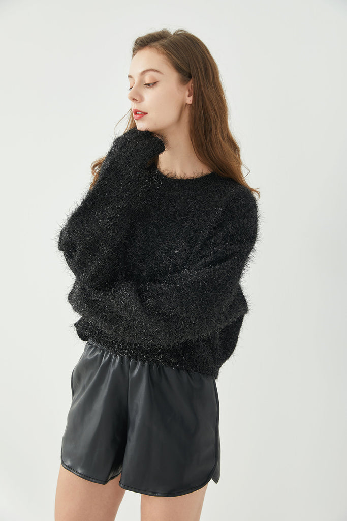 whizz sequin knit pullover sweater