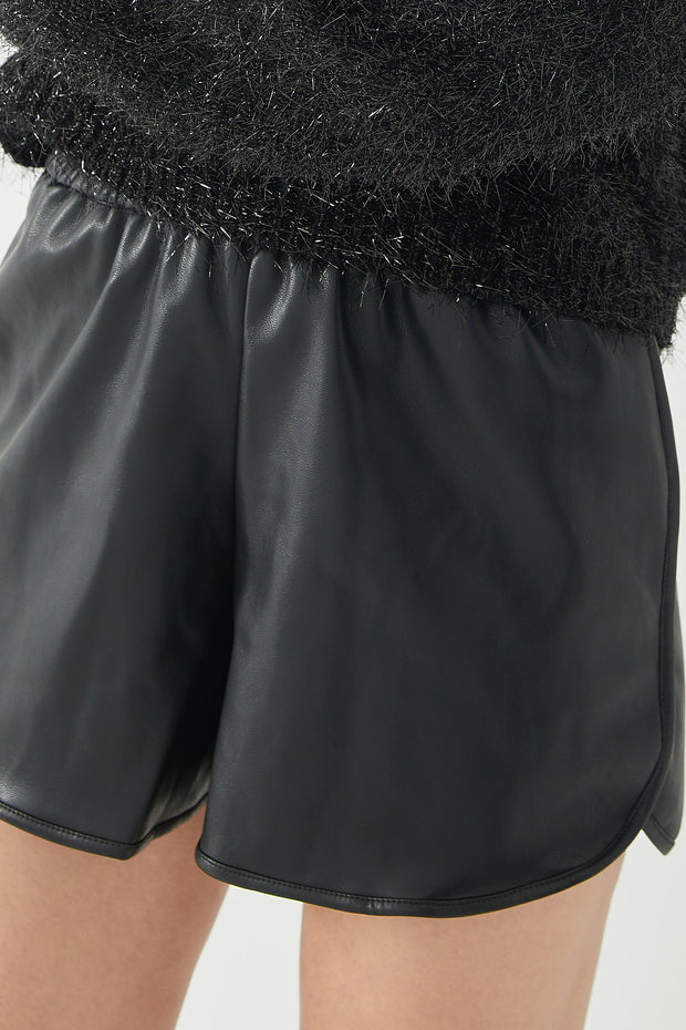 High Rise Faux Leather Shorts 1