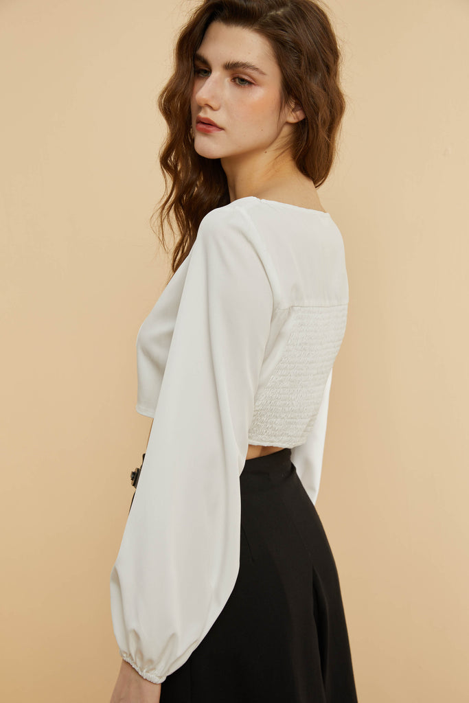 French Square-Neck Cropped Blouse-Whizz
