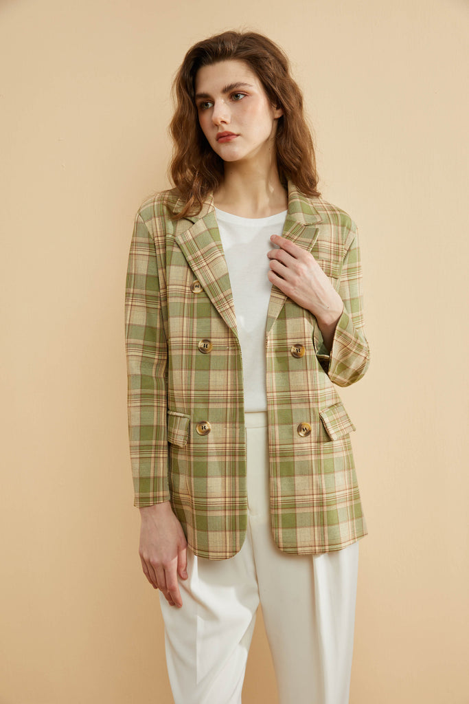 Earth Tone Checkered Blazer -Whizz