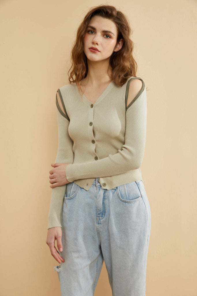 Avocado Contrast Soft Knit Top-Whizz