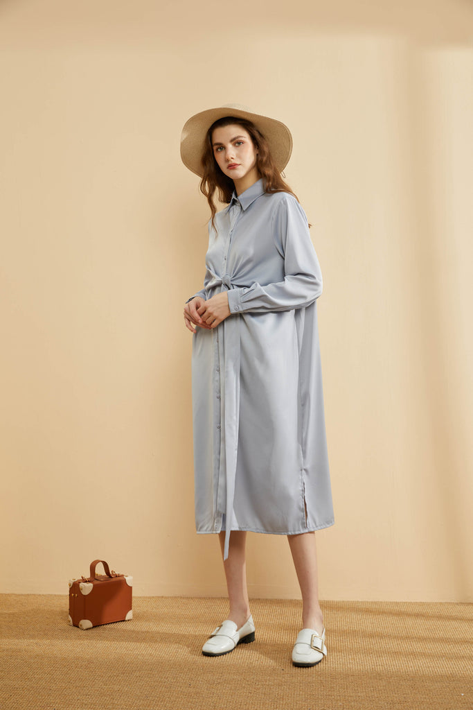 Batwing Sleeve Tied-up Silky Shirt Dress-Whizz
