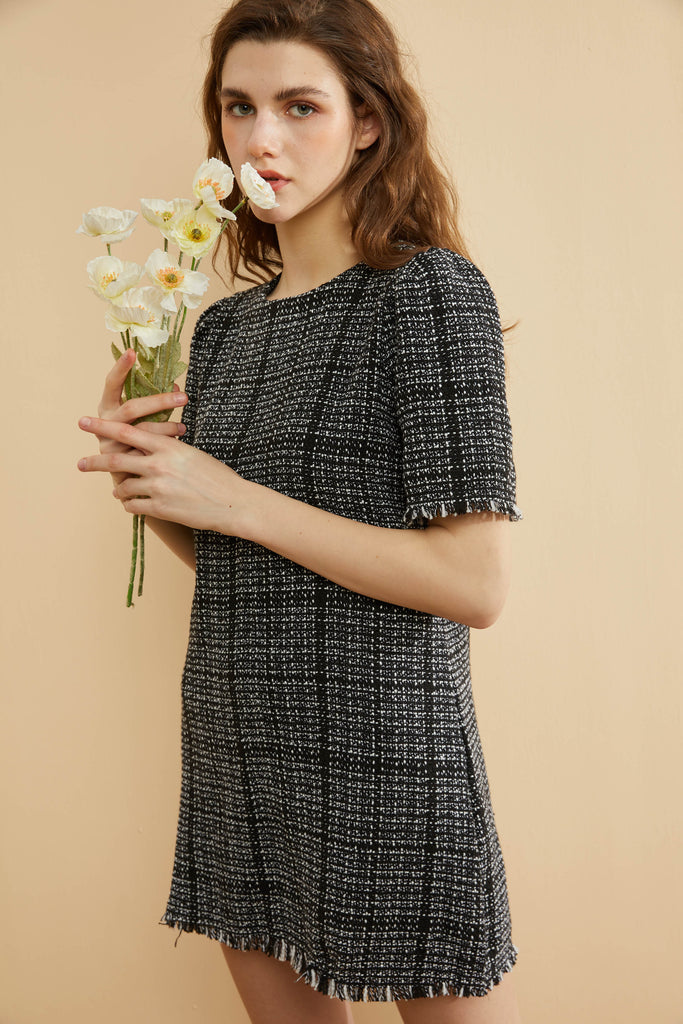 Black and White Tweed Dress -Whizz