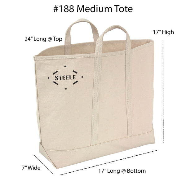 Natural Canvas Tote Bag w/Long Handles - Medium