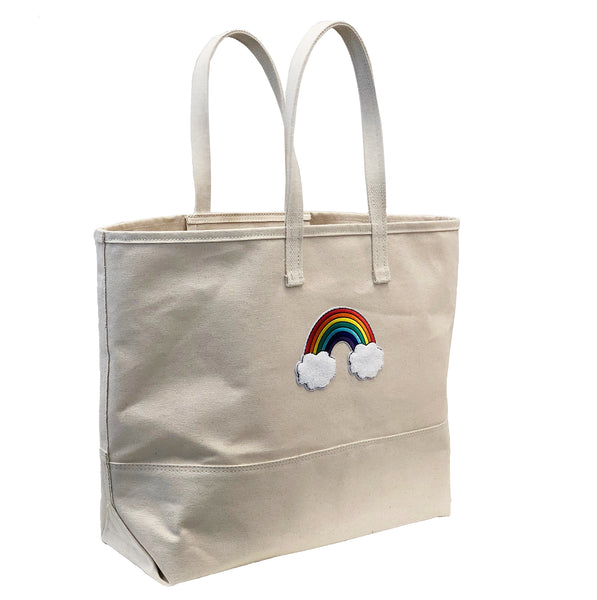 Big Rainbow Tote - Natural Canvas Bottom