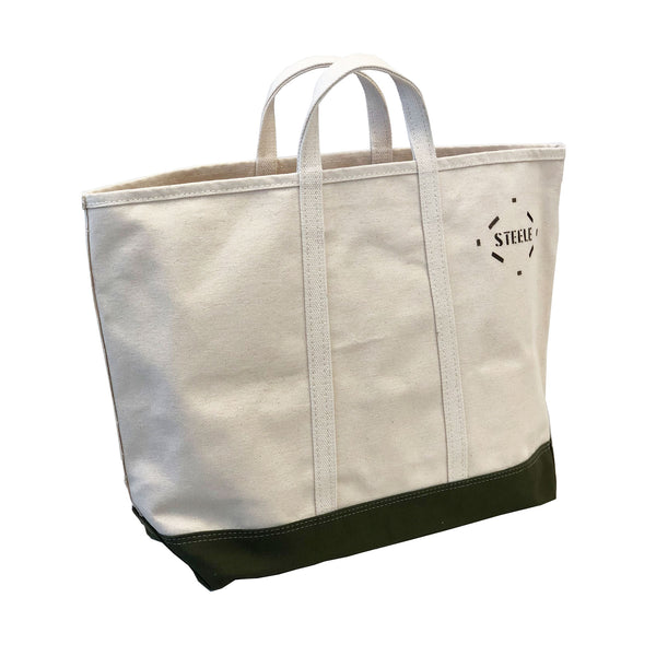 Medium Canvas Tote With Olive Canvas Bottom