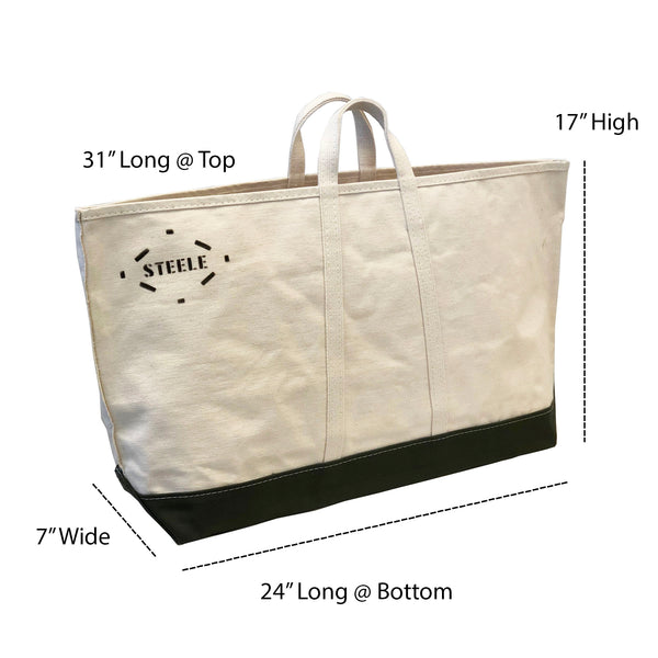 Wide Natural Canvas Tote With Olive Canvas Bottom