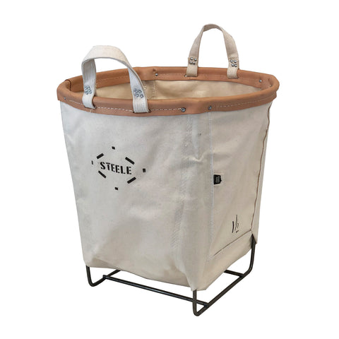 Canvas Round Carry Basket - 1.5 Bu (Aged Leather Rim)