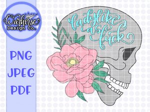 Ladylike as fuck Skull (pink/blue) PNG JPEG PDF