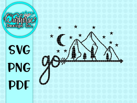 """Go"" Mountains SVG PNG PDF"