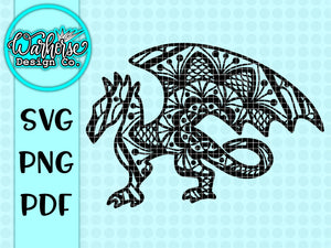 Dragon mandala SVG PNG PDF