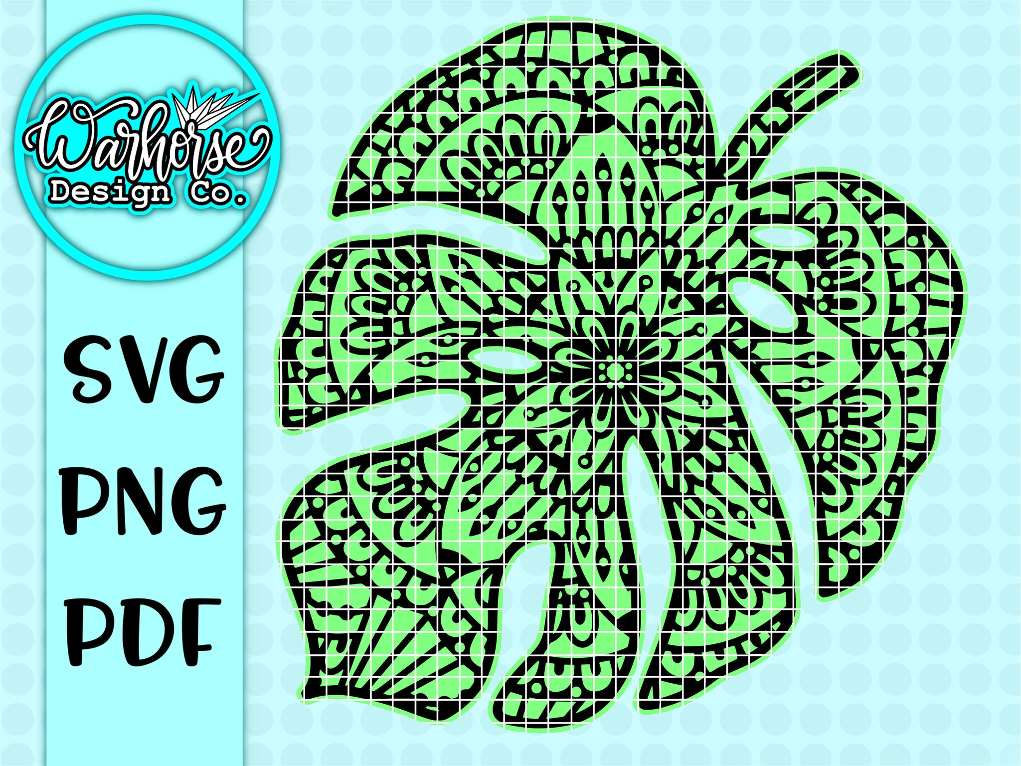Monstera Mandala SVG PNG PDF