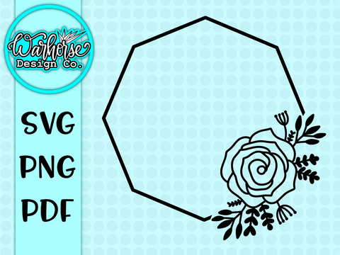 Flower Wreath Hexagon SVG FILE
