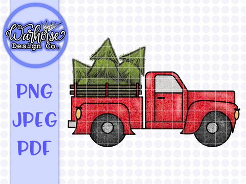 Christmas Tree Truck | Little Red Truck PNG PDF JPEG