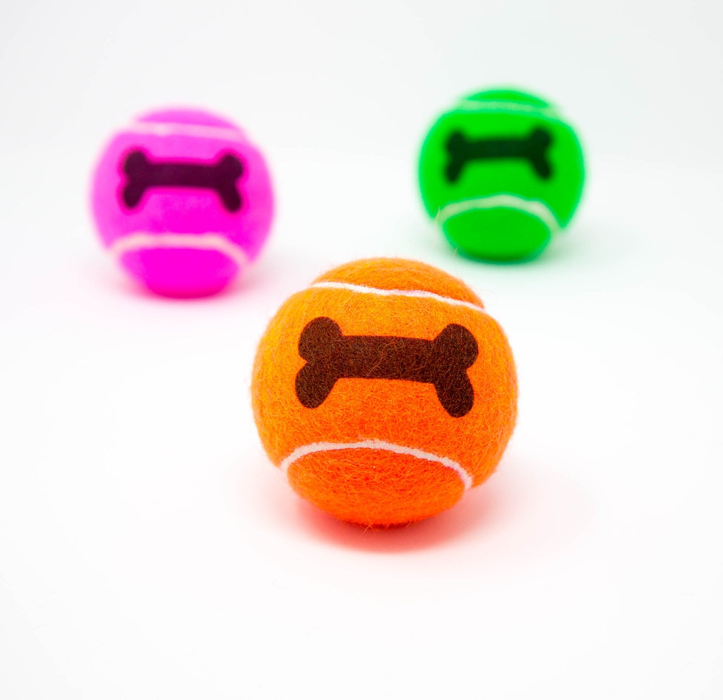 Bone Printed Colourful Dog Tennis Balls