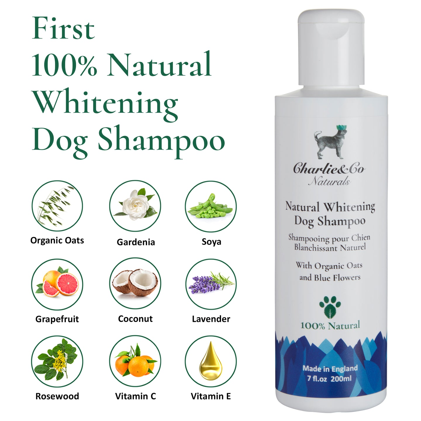 100% Natural Whitening Dog Shampoo