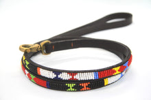 "Load image into Gallery viewer, Maasai beaded Toy/Small Dog Leads 44"" (112cm) long & 1/2"" (1.25cm) wide)."