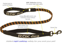 Load image into Gallery viewer, ROK Dog Reflective 3-in-1 Stretch Lead, Black/Orange