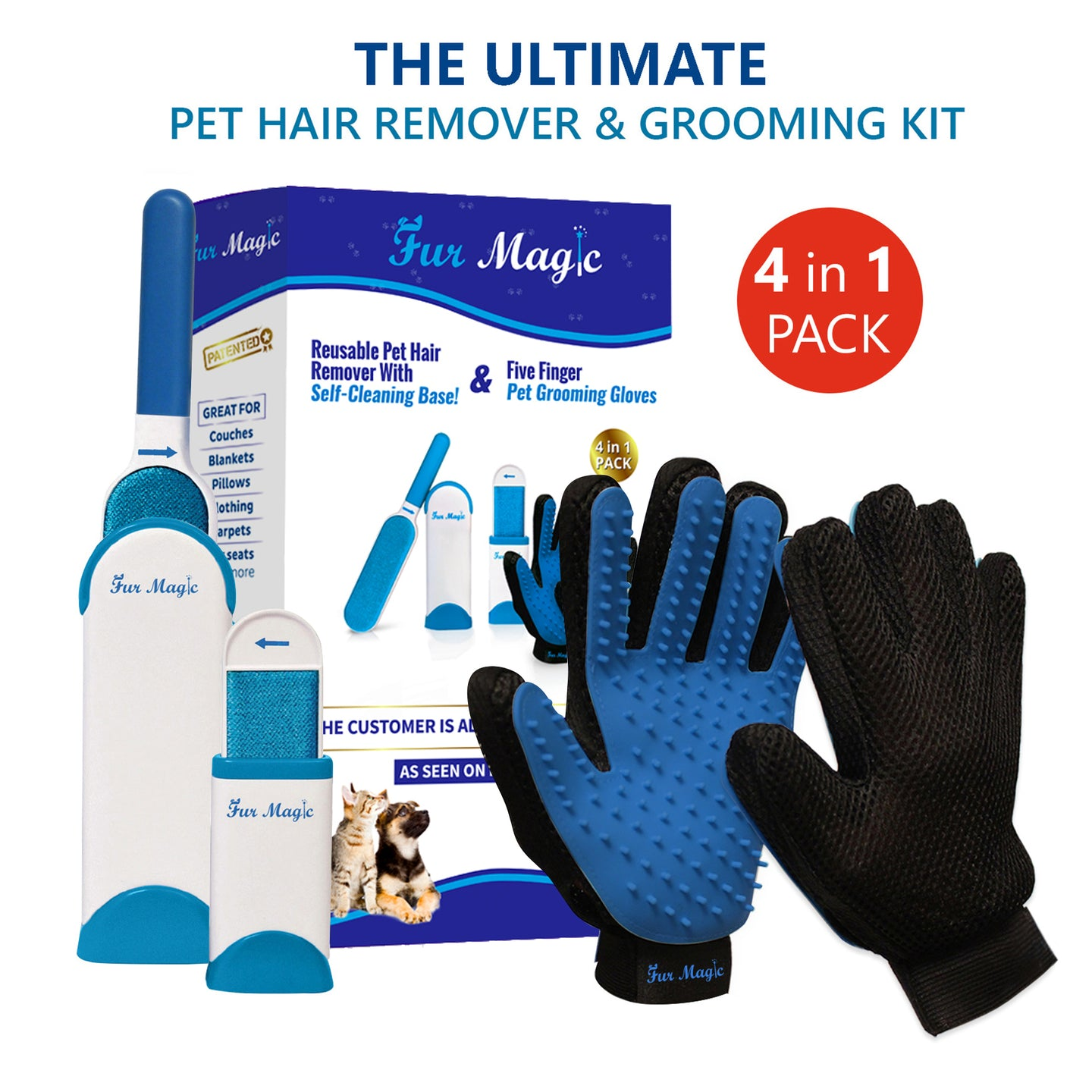 Fur Magic Pet Hair Remover Brush and Gloves, Blue