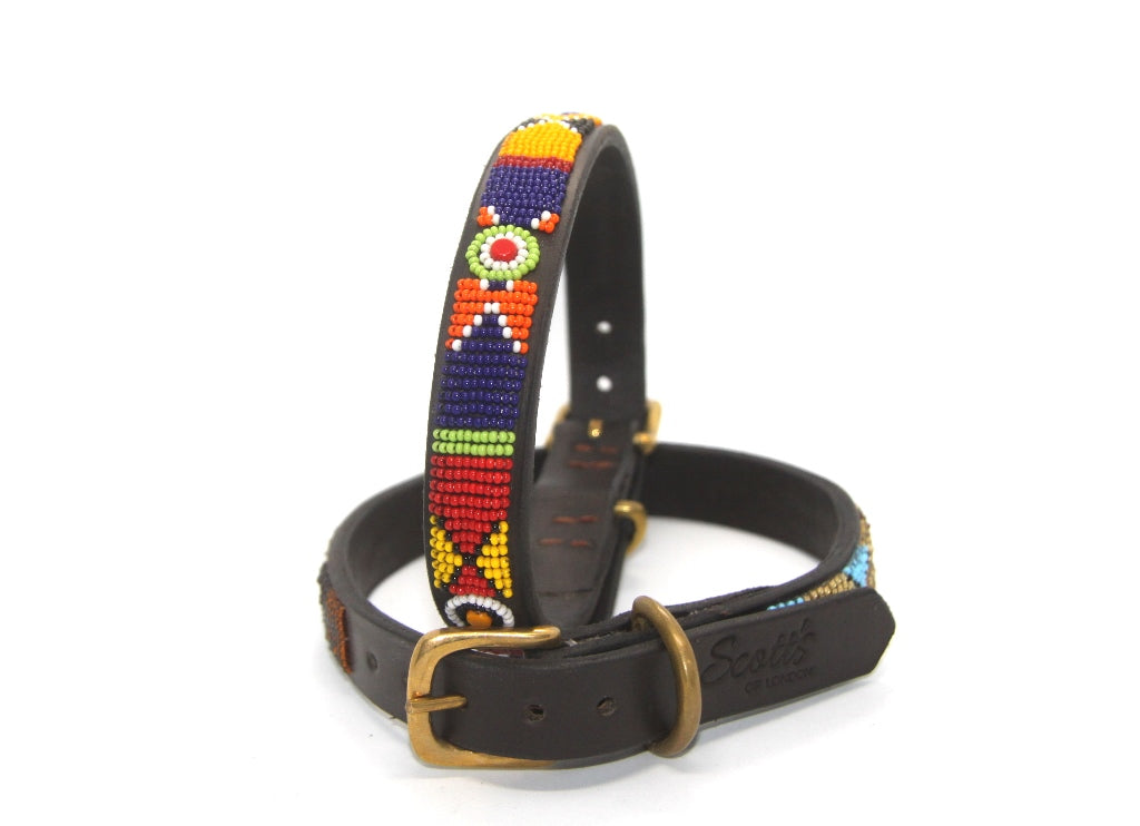 Maasai beaded Large breed dog collars - 18-20