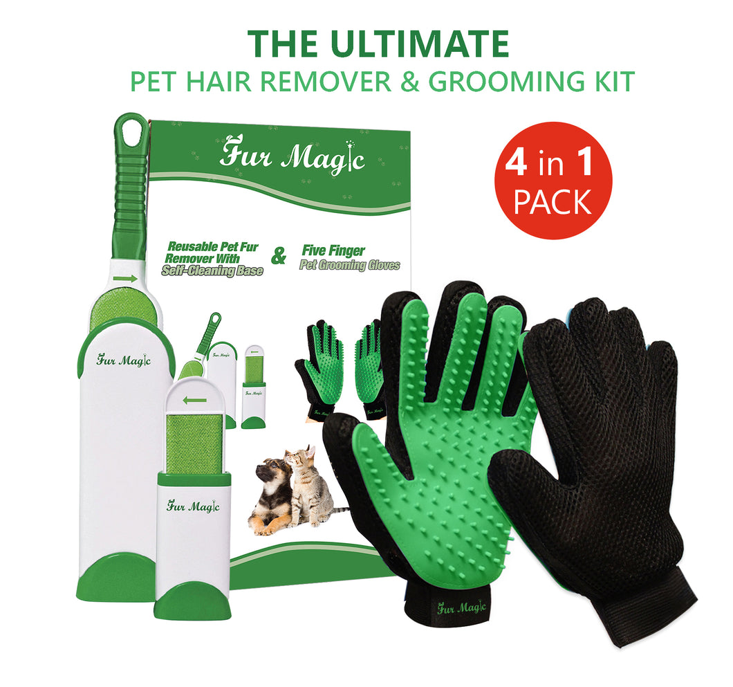Fur Magic Pet Hair Remover Brush and Gloves, Green