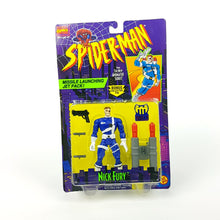 Load image into Gallery viewer, Vintage ☆ NICK FURY SPIDER-MAN ANIMATED SERIES MARVEL Figure ☆ Original MOC Sealed Carded Toybiz 90s
