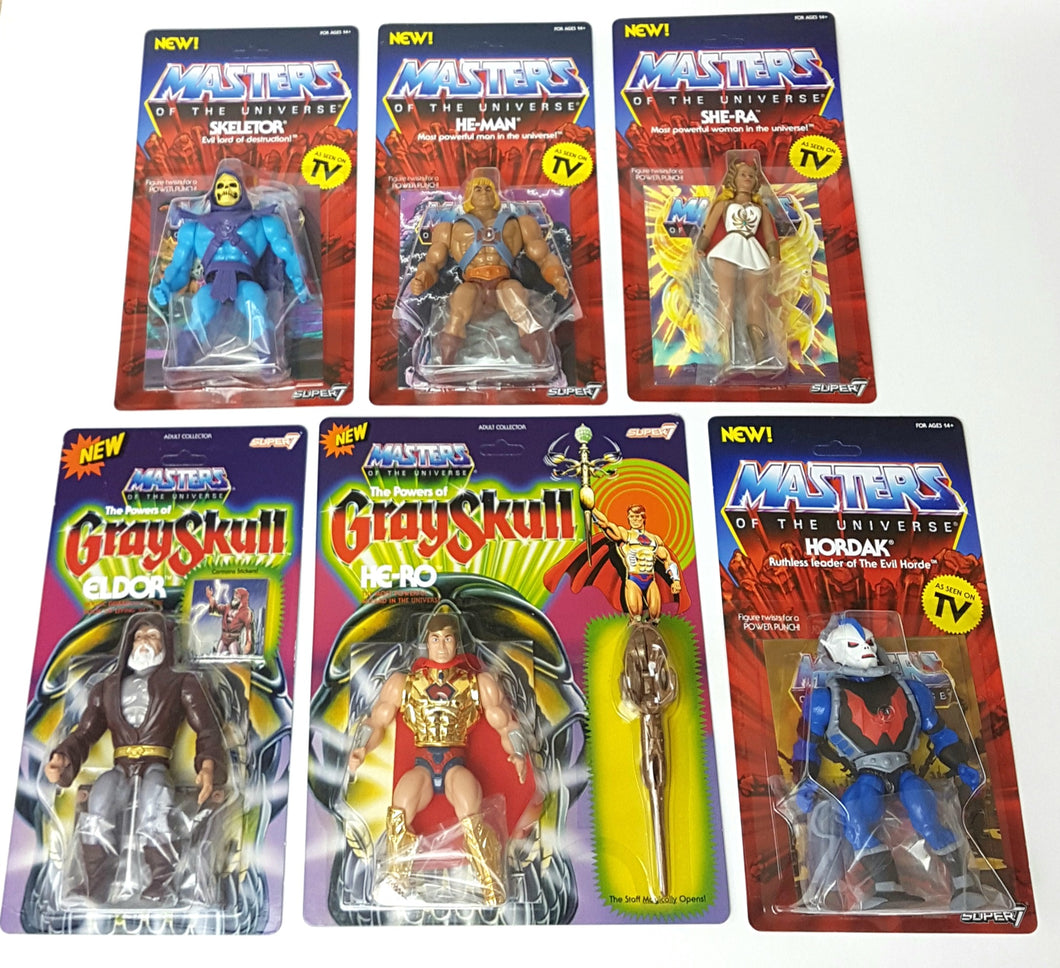MOTU 6x Master of the Universe Figures Wave 1 Vintage Series ☆ Super 7 JOBLOT