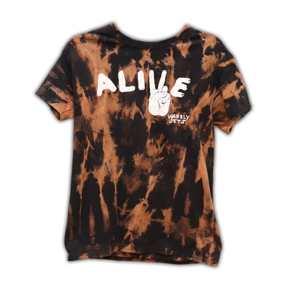 "Vintage ""Alive'' T-Shirt. One of the earliest WJ shirts ever printed, now uniquely hand bleached on 100% cotton. Limited stock and sizes available!   *Each shirt is one of a kind and may not be wholly represented by display photo."