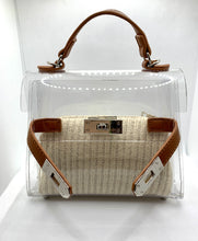 Load image into Gallery viewer, Clear & Leather Handbag